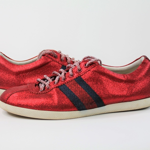 Gucci Glitter Web Red Sneakers 44684